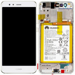 Genuine Huawei P10 Lite Lcd and touchpad with battery, speaker & Side buttons in White - Part no:02351FSC