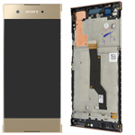 Genuine Xperia XA1 G3121 Complete lcd with touchpad and frame in Gold - Part no: 78PA9100120