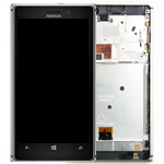 Genuine Nokia Lumia 925 Complete Lcd with Digitizer touchpad and frame in Silver -  P/N:00810B2