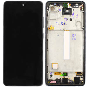 Genuine Samsung Galaxy A52 5G (A526B) / A52 4G (A525) Complete lcd with frame and side buttons in Black (Without Battery) - Part no: GH82-25754A/GH82-25524A