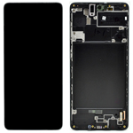Genuine Samsung Galaxy A71 (A715) Complete lcd with touch and front frame in black - Part no : GH82-22152A