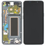 Genuine Samsung S9 (G960F) Complete lcd and touchpad with frame in Titanium Grey - Part no: GH97-21696C