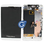 Genuine Blackberry Z10 Complete lcd and digitzer with frame, chassis and parts in white - 001 3G version