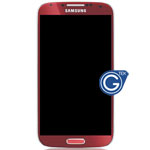 Genuine Samsung Galaxy S4 GT-I9500 Complete lcd module with digitizer touchpad and frame in Red - GH97-14630F