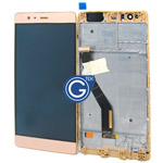 Huawei P9 Plus Complete LCD and Digitizer with Frame in Gold-HQ