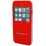 iPhone 6S / 6 Slider to answer leather case + metal holder Red