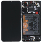 Genuine Huawei P30 Complete lcd and touchpad with frame and battery in Black - Part no: 02352NLL