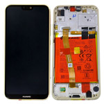 Genuine Huawei P20 Lite Complete lcd with frame and battery in Gold - Part no: 02351WRN