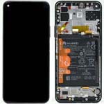 Genuine Huawei P40 Lite Complete lcd and touchpad with frame and fingerprint in Midnight Black - Part no: 02353KFU