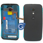 Motorola Moto X Battery Cover with flash light flex ,camera chrome ring and adesive in black