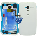 Motorola Moto X Battery Cover with flash light flex ,camera chrome ring and adesive in white