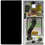 Genuine Samsung Galaxy Note 10 (N970F) / Note 10 5G Complete lcd with touchpad and frame in Aura white - Part no : GH82-20818B