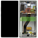 Genuine Samsung Galaxy Note 10+ (N975F) / Note 10 + 5G Complete lcd with touchpad and frame in Silver - Part no: GH82-20900C, GH82-20838C