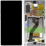 Genuine Samsung Galaxy Note 10+ (N975F) Complete lcd with touchpad and frame in White - Part no: GH82-20838B