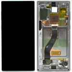Genuine Samsung Galaxy Note 10 (N970F) / NOTE 10 5G Complete lcd with touchpad and frame in Aura Glow / Silver - Part no: GH82-20817C / GH82-20818C