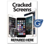 New A1 Large 841 x 594 mm iPhone and iPad Cracked Screens Repaired Here Poster