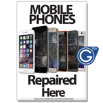 New A2 Medium Mobile Phones Repaired Here Poster