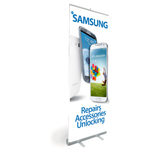 Pull Up Banner/ Promotional Stand showing Samsung Repairs, Accessories & Unlocking - Shipped to UK only
