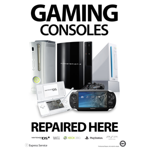 A3 Gaming Console Repaired Here Poster Designer Series