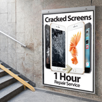 Newly Designed Cracked Screens 1 Hour Repair Service Poster in A2 - Medium Poster