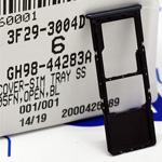 Genuine Samsung A70 (A705) Single SIM card holder with MicroSd card holders Black - Part no: GH98-44283A