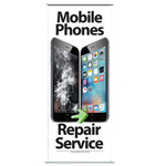 New Pull Up Banner Stand for Shop Display Showing Mobile Phones Repair Service - Shipped to UK Only