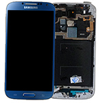 Genuine Samsung i9505 Galaxy S4 LTE Complete lcd and touchpad + frame in Artic Blue  - part no: GH97-14655c