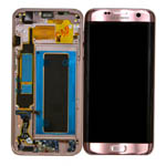 Genuine Samsung Galaxy S7 Edge (SM-G935F) Complete lcd and touchpad with frame in Pink Gold-Samsung part no: GH97-18533E