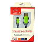Micro USB Charge Sync Cable High Speed in Green and Grey