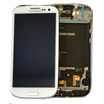 Genuine Samsung GT-I9301 Galaxy S3 Neo  Complete lcd with Frame and Touchpad in Ceramic White - P/N: GH97-15472B