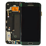 Genuine Samsung S6 Edge SM-G925 Lcd and Touchpad with Frame Assembly in Green - Samsung  Part number : GH97-17162E