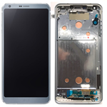 Genuine LG G6 H870 Complete lcd with digitizer and frame assembly in Platinum - LG Part Number: ACQ89384001/ACQ90290001