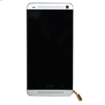 Genuine HTC One (M7) Complete Front Lcd with Digitizer Touchscreen in Silver- HTC part no: 80H01478-01;80H01568-01 (Grade A)