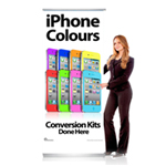 Pull Up Banner Stand for Shop Display Showing iPhone Colours Conversion Kit Done Here - Shipped to UK Only