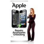 Pull Up Banner Stand for Shop Display Showing Apple Repairs Accessories Unlocking - Shipped to UK Only