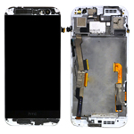 Genuine HTC One (M8) Complete Lcd with Digitizer Touchscreen and Frame in White- Part no: 80H01770-19;80H01757-19 (Grade B)