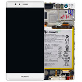 Genuine Huawei P9 Complete Lcd with touchpad including Loudspeaker, Battery, Vibrator, Speaker and side flex in White/Silver- Part no: 02350RRY