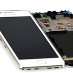 Genuine Samsung GT-I9105 Galaxy S2 Plus - Complete lcd with frame and touchpad in White - Part number: GH97-14301B