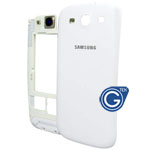 Samsung i9300 Galaxy S3 Rear Frame with Camera Lens and Battery Cover in white
