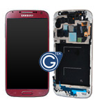 Genuine Samsung i9505 Galaxy S4 LTE Complete lcd and touchpad + frame in Red - part no: GH97-14655F