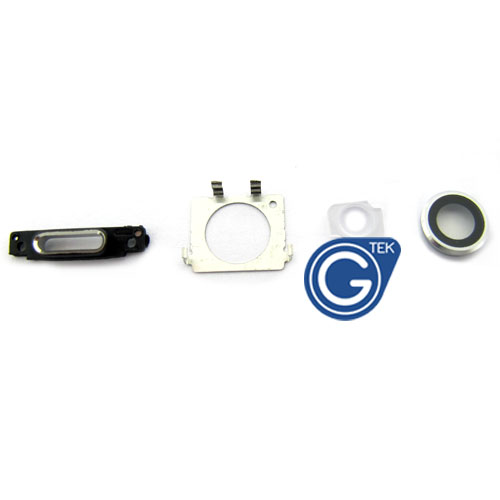 iPhone 6 Plus Camera Lens, Charging Connector Ring, Flash Light Lens and Rear Camera Holder in Silver