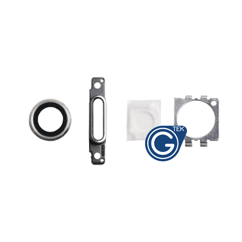 iPhone 6 Camera Lens, Charging Connector Ring, Flash Light Lens and Rear Camera Holder in Silver