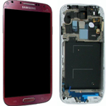 Genuine Samsung i9505 LTE Complete lcd and digitizer with frame in La Fluer Red - Samsung Part code: GH97-14655K