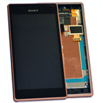 Genuine Sony Xperia M2 Aqua D2403 Front Cover LCM TP Assy Copper- Complete lcd and touchpad with frame, flex and buttons - Sony Part no: 78P7550003N