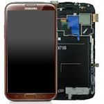Genuine Samsung Galaxy Note 2 GT-N7100 Complete lcd with digitizer and frame in Brown - Part no: GH97-14112B