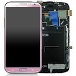 Genuine Samsung Galaxy Note 2 GT-N7100 Complete lcd with digitizer and frame in Pink - Part no: GH97-14112F