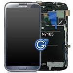 Samsung Galaxy Note 2 LTE GT-N7105 complete lcd with frame and Touch - Titanium Grey-GH97-141148 (Refurbished as new)