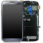 Genuine Samsung Galaxy Note 2 LTE GT-N7105 Complete Lcd + Frame + Touch - Titanium Grey - GH97-14114B