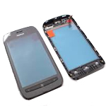 Genuine Nokia Lumia 710 Original Front Cover Digitizer TouchPad with frame and speaker in black- Nokia part no: