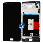 OnePlus 3 A3000 A3003, 3T A3010 Complete LCD and Touchpad Digitizer with Bezel Frame in Black REV2.0